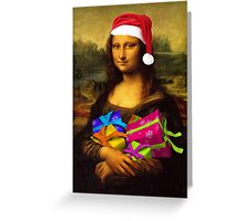 Santa Mona Lisa Greeting Card