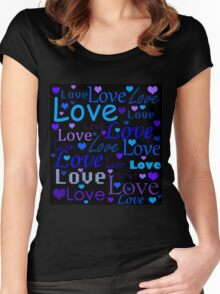 Blue love pattern Women's Fitted Scoop T-Shirt