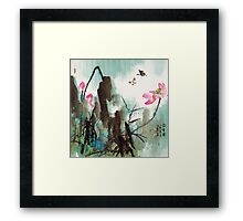 Butterfly and Lotus Framed Print