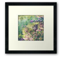 Pretty Butterfly Orange Markings Pink Flowers Green Leaves Framed Print