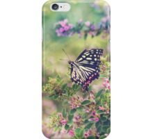 Pretty Butterfly Orange Markings Pink Flowers Green Leaves iPhone Case/Skin