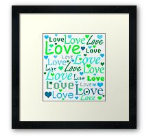 Love pattern - green and blue Framed Print
