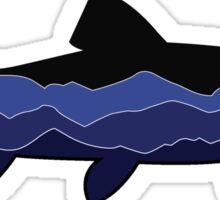 Trout Graphic- Black, Mountains Sticker