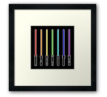 What Color is Your LightSaber Star Wars Rainbow Framed Print