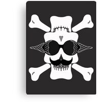 skull head with glasses and mustache in black and white Canvas Print