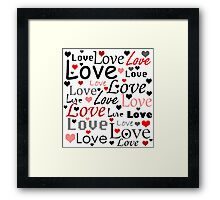 Valentines day pattern - red Framed Print