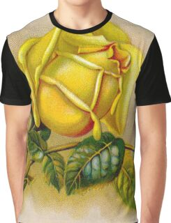 Yellow Rose Vintage Flower Graphic T-Shirt