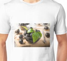 Black olives in glass cups with oil Unisex T-Shirt