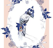 Magpie Bird Artprint by lascarlatte