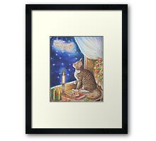 Christmas Art - Cat waiting for Santa Framed Print