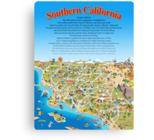 Cartoon Map of Southern California Canvas Print
