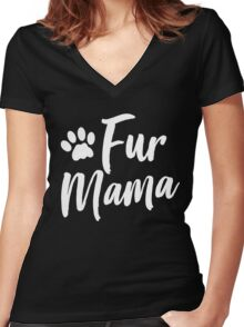 Fur Mama Women's Fitted V-Neck T-Shirt
