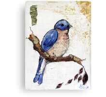 Blue Bird Collage Painting Canvas Print