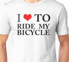 I Love To Ride My Bicycle GREEN ECO ENVIRONMENT WIGGINS CYCLING BIKING Unisex T-Shirt