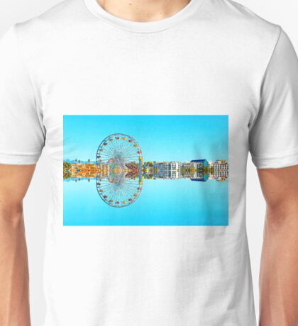 ferris wheel with buildings and blue sky Unisex T-Shirt