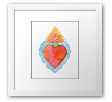 Bright watercolor sacred heart Framed Print