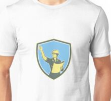 Female Construction Worker Engineer Shield Retro Unisex T-Shirt