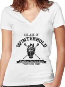 College of Winterhold - Jersey Style (Black) Women's Fitted V-Neck T-Shirt