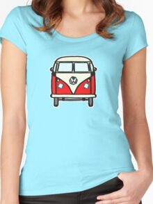 Red White Campervan (slightly cubist) Women's Fitted Scoop T-Shirt