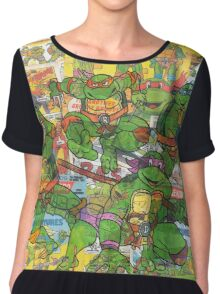 Vintage Comic Teenage Mutant Hero Turtles Chiffon Top
