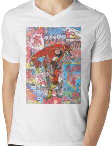 Vintage Comic Flash Mens V-Neck T-Shirt