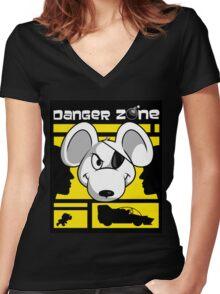 Danger Zone - yellow Women's Fitted V-Neck T-Shirt
