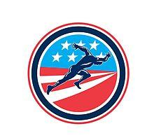 Sprinter Runner Running Woodcut Retro by patrimonio
