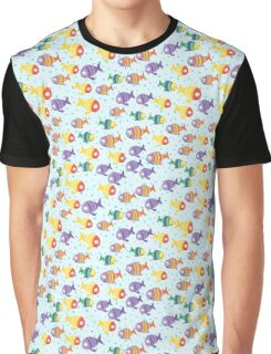 Abstract color cartoon fishes in the sea Graphic T-Shirt
