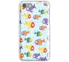 Abstract color cartoon fishes in the sea iPhone Case/Skin