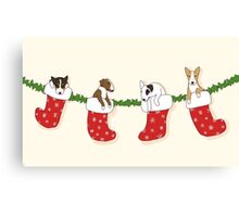 Christmas Bull Terrier Puppies - Creme Canvas Print