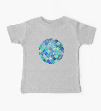 Cobalt Blue, Aqua & Gold Decorative Moroccan Tile Pattern Baby Tee