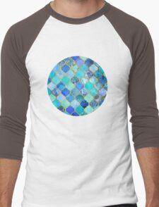 Cobalt Blue, Aqua & Gold Decorative Moroccan Tile Pattern Men's Baseball ¾ T-Shirt
