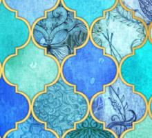 Cobalt Blue, Aqua & Gold Decorative Moroccan Tile Pattern Sticker