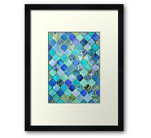 Cobalt Blue, Aqua & Gold Decorative Moroccan Tile Pattern Framed Print