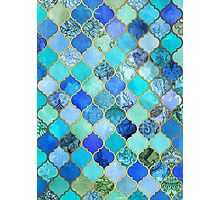 Cobalt Blue, Aqua & Gold Decorative Moroccan Tile Pattern Photographic Print