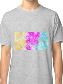 pink blue and yellow flowers abstract background Classic T-Shirt
