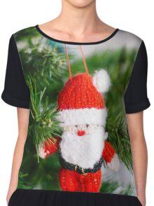 knitted santa Chiffon Top