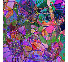 NEON SKULL GARDEN BY ART AND SOUL MAMMA Photographic Print