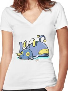 Chubby whales Women's Fitted V-Neck T-Shirt