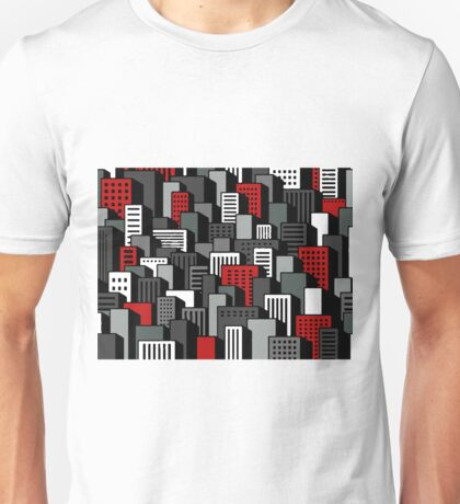 Red Gray and Black cityscape Unisex T-Shirt