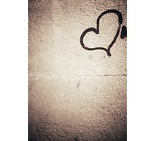 Love heart painted on urban city wall silver gelatin black and white 35mm negative analog film photograph Photographic Print