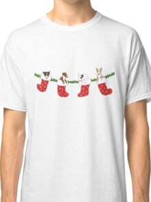 Christmas Bull Terrier Puppies - Transparent Classic T-Shirt