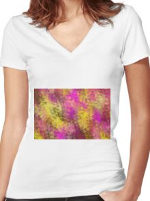 pink and yellow flowers abstract background Women's Fitted V-Neck T-Shirt