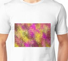 pink and yellow flowers abstract background Unisex T-Shirt