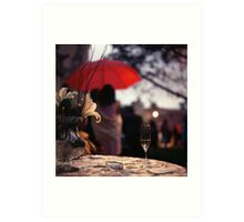 Summer rain - glass of champagne on table in garden wedding party Hasselblad  analog film still life photo Art Print