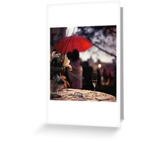 Summer rain - glass of champagne on table in garden wedding party Hasselblad  analog film still life photo Greeting Card