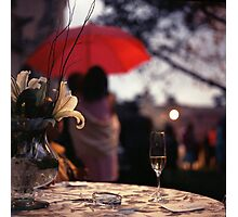 Summer rain - glass of champagne on table in garden wedding party Hasselblad  analog film still life photo Photographic Print