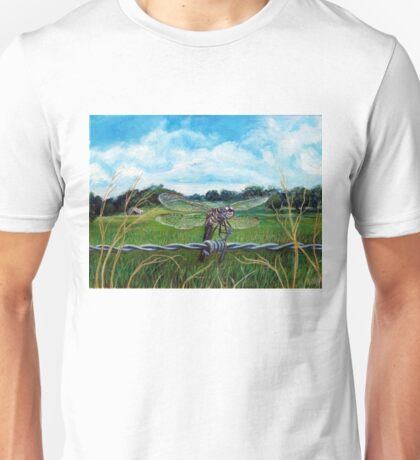 Dragonfly on barbed wire Unisex T-Shirt