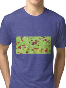 red yellow and green nature abstract background Tri-blend T-Shirt