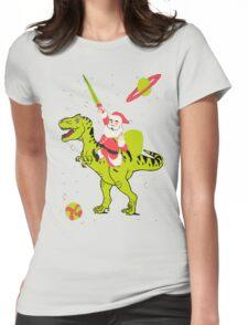 Santa Riding Dinosaur -Christmas Coming Womens Fitted T-Shirt
